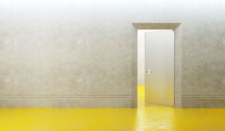 3d rendering the empty room with door Stock Photo - 7981424