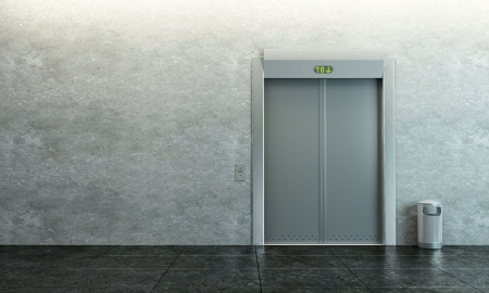 entrance: modern elevator with closed doors Stock Photo