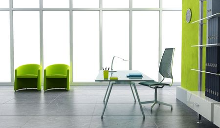 interior window: modern office interior 3d render