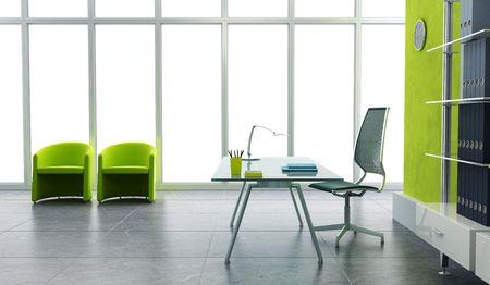 working in office: modern office interior 3d render