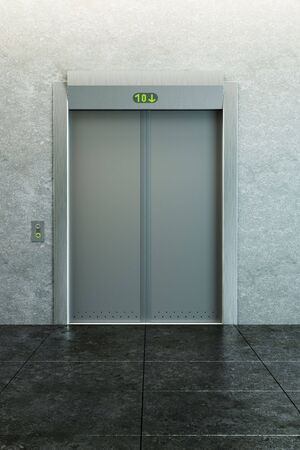 modern elevator with closed doors Stock Photo