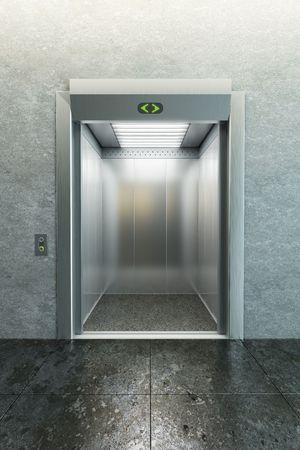 doorways: modern elevator with open doors