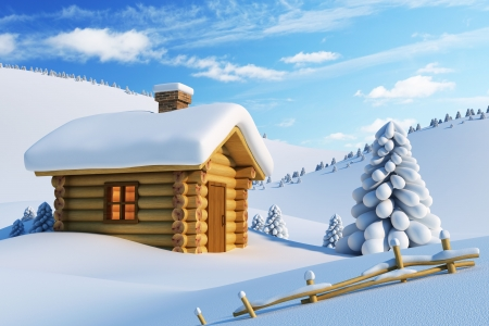 log house and fir-tree in snow-drift mountain landscape photo