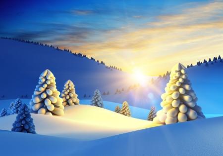 peaceful scene: winter landscape with fir trees, 3d rendering