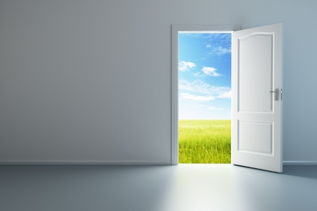 door: 3d rendering the empty room with opened door Stock Photo