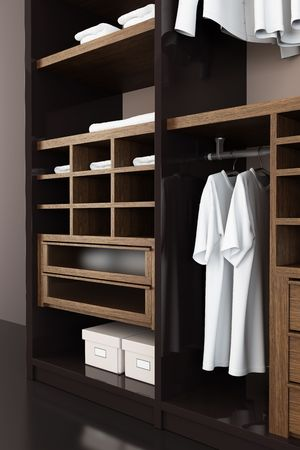 closets: Inside the modern closet 3d rendering Stock Photo