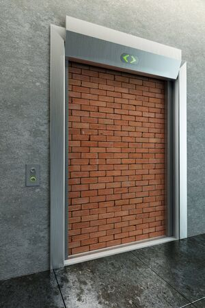 deadlock: modern elevator with deadlock 3d render Stock Photo