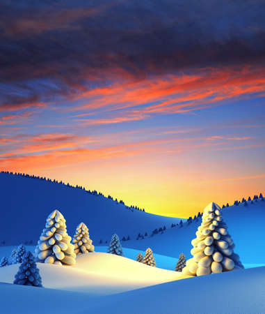 winter landscape with fir trees, 3d render Stock Photo - 8175763