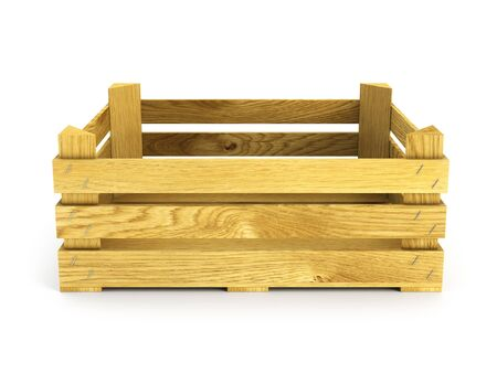 wooden crate: empty wooden crate. Isolated 3d rendering