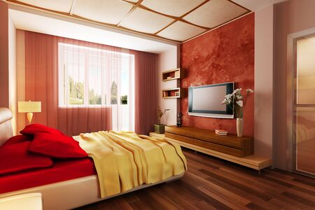 living room design: modern style bedroom interior 3d rendering Stock Photo
