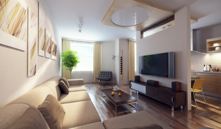 urban apartment: modern interior 3d render