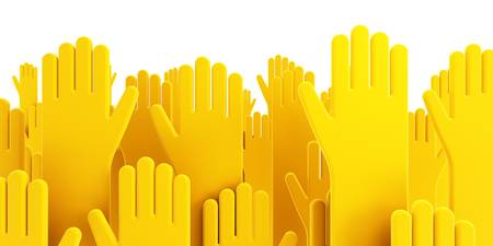raise the thumb: isolated voting human hands 3d render