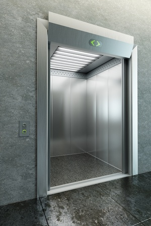 modern elevator with open doors photo