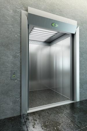 elevator: modern elevator with open doors