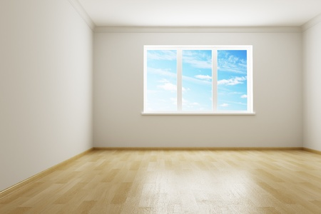 open windows: 3d rendering the empty room Stock Photo