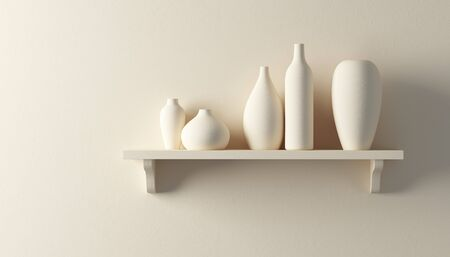 lofts: ceramics vases on the shelf 3d render