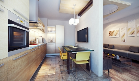 condominium: modern kitchen interior 3d render