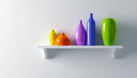 decor: ceramics vases on the shelf 3d render