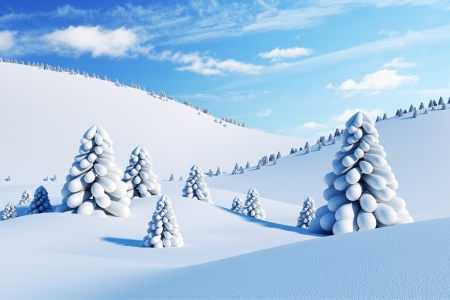 winter landscape with fir trees, 3d rendering Stock Photo - 8591486