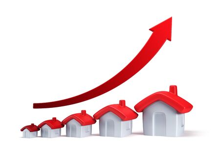 increase: real estate are raising, isolated 3d render Stock Photo