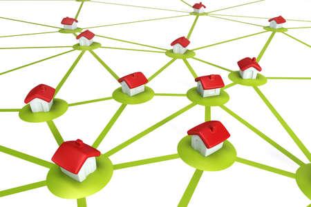 settlement: symbolic settlement network , isolated 3d render