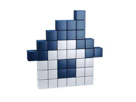 symbolic pixel house, isolated 3d render photo