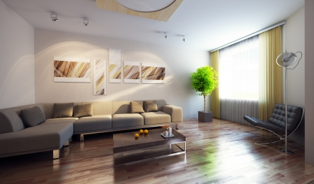 3D rendering: modern interior with couch and picture on the wall, 3d render