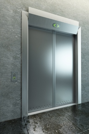 modern elevator with closed doors, 3d render photo