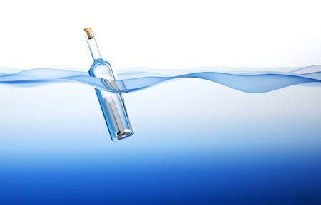 Bottle in the Ocean. 3d rendering photo