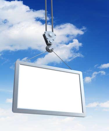 hook holding empty billboard, 3d render Stock Photo - 8706073