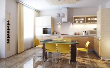 modern design of a  kitchen interior 3d render photo