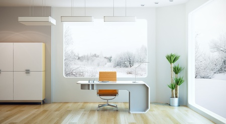interior design of modern office, 3d render photo