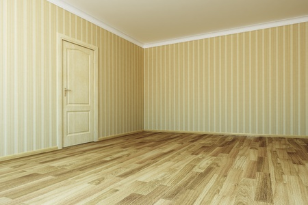 3d rendering the empty room with door photo