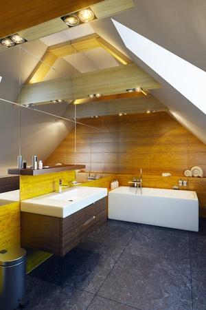 Modern interior design of a bathroom, 3d render photo
