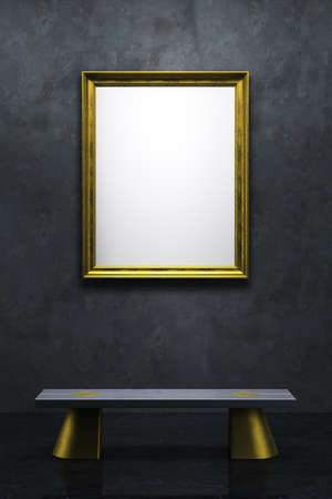 blank frame in the gallery, 3d rendering photo