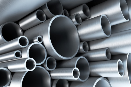stainless steel background: stack of steel tubing 3d rendering