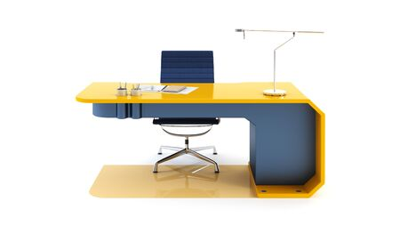 office chairs: modern table 3d render, isolated ot white
