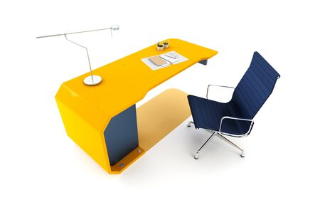 modern table 3d render, isolated ot white photo