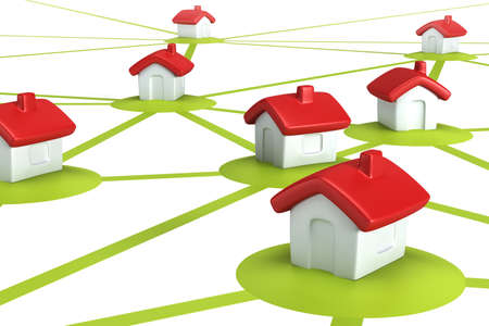symbolic settlement network , isolated 3d render Stock Photo - 8930383