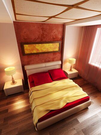 modern style bedroom interior 3d rendering Stock Photo - 8930403