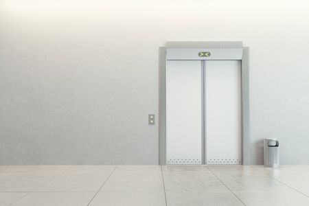 metal doors: modern elevator with closed doors Stock Photo