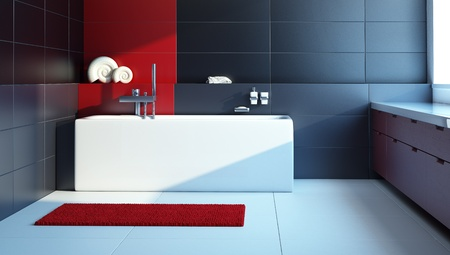 Modern interior design of a bathroom, 3d render photo