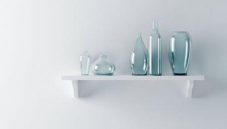ceramics vases on the shelf 3d render Stock Photo - 9046427