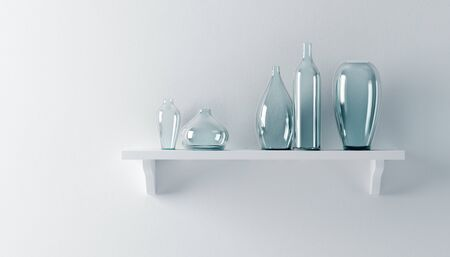 ceramics vases on the shelf 3d render Stock Photo - 9046427