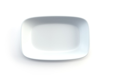 empty plate: isolated empty ceramic plate, 3d render Stock Photo