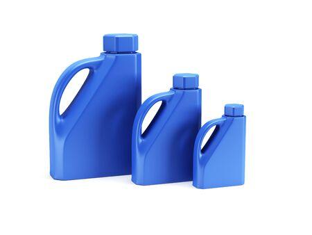 lube: set of motor oil bottles isolated 3d render Stock Photo