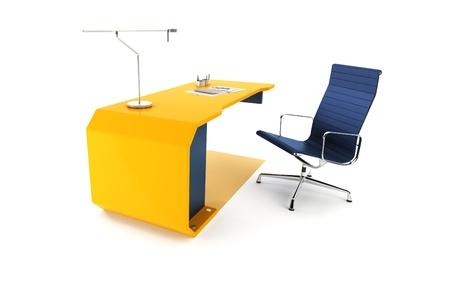 office scene: modern table 3d render, isolated ot white