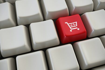 qwerty: keyboard with basket button 3d rendering Stock Photo