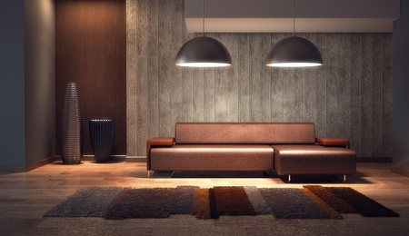 luxury lounge room with couch, 3d render Reklamní fotografie - 9243533