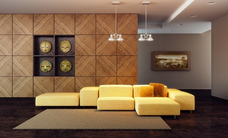 luxury lounge room with couch, 3d render Stock Photo - 9243534